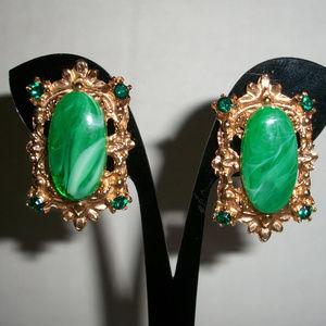 Antique Rhinestones Malachite Gold Plated Earrings